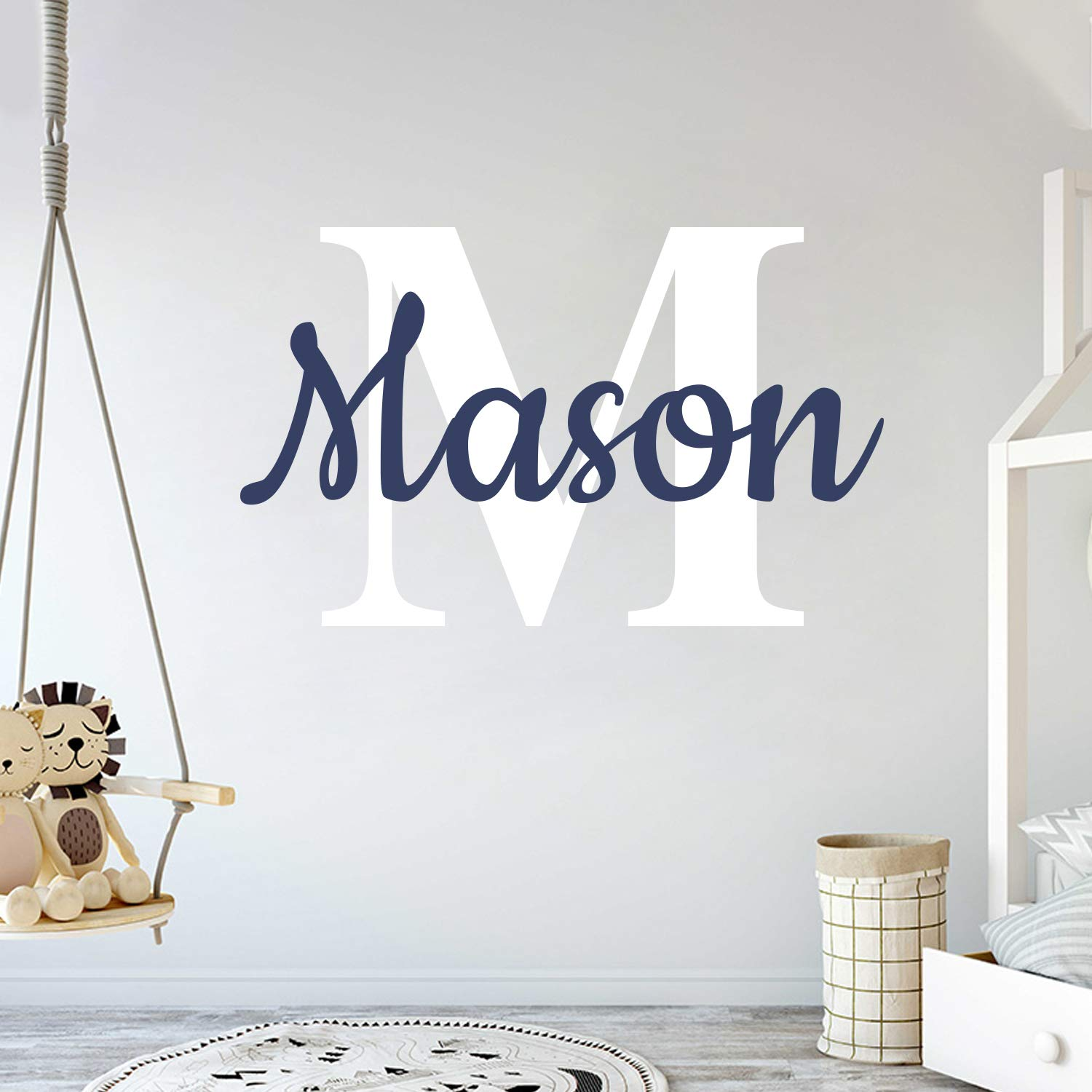Custom Name & Initial - Prime Series - Baby Boy Girl Unisex - Wall Decal Nursery for Home Bedroom Children (Wide 40'' x 26'' Height)