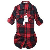 OCHENTA Women's Mid-Long Style Roll-Up Sleeve Plaid Shirt