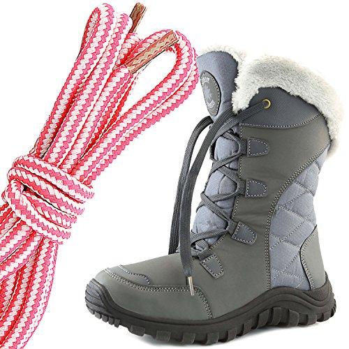 Dailyshoes Donna Comfort Punta Rotonda Metà Polpaccio Escursionismo Esterno Alla Caviglia Alta Eskimo Inverno Pelliccia Stivali Da Neve, Rosa Bianco Spazio Grigio