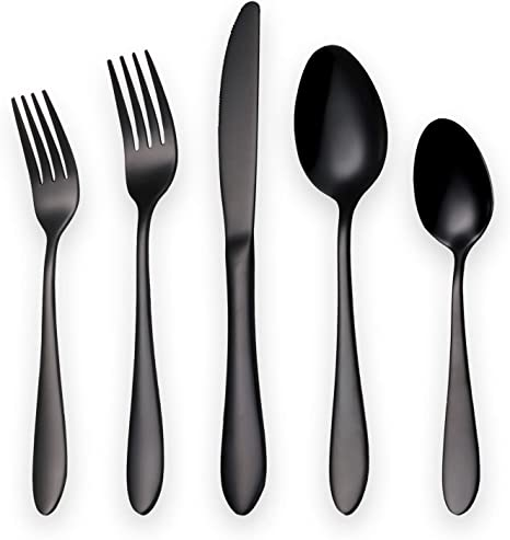 Black Silverware Set Service for 6 Titianium Black Plating Strong Anti Rust Kyraton Stainless Steel Flatware Set 24 Pieces