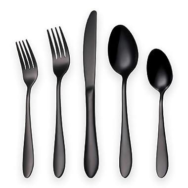 HOMQUEN 20-Piece Silverware Set Service for 4, 18/10 Stainless Steel (420 Blade) Cutlery Set, Black Titanium Dinnerware Set Tableware Set Dishwasher Safe(Shiny Black-20 Piece)