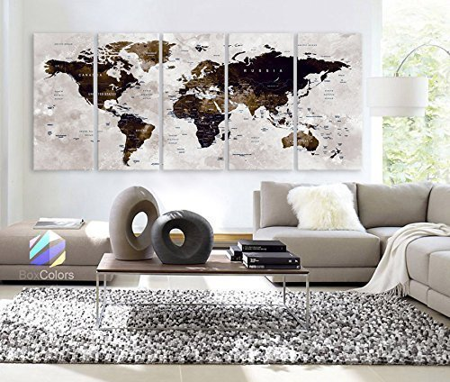 "Original by BoxColors XLARGE 30""x 70"" 5 Panels 30""x14"" Ea Art Canvas Print Watercolor Map World Countries Cities Push Pin Travel Wall color Brown beige decor Home interior (framed 1.5"" depth)"