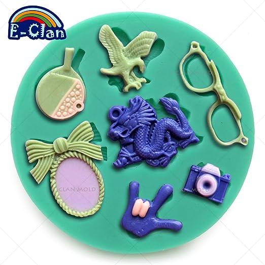 Gafas cámara mesa tenis pelota fondant cake moldes decoración de ...