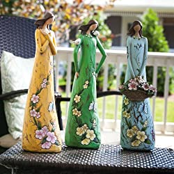 Set of 3 Assorted Angel Blossoms Gift of Love Weathered Outdoor Garden Statues 14.5