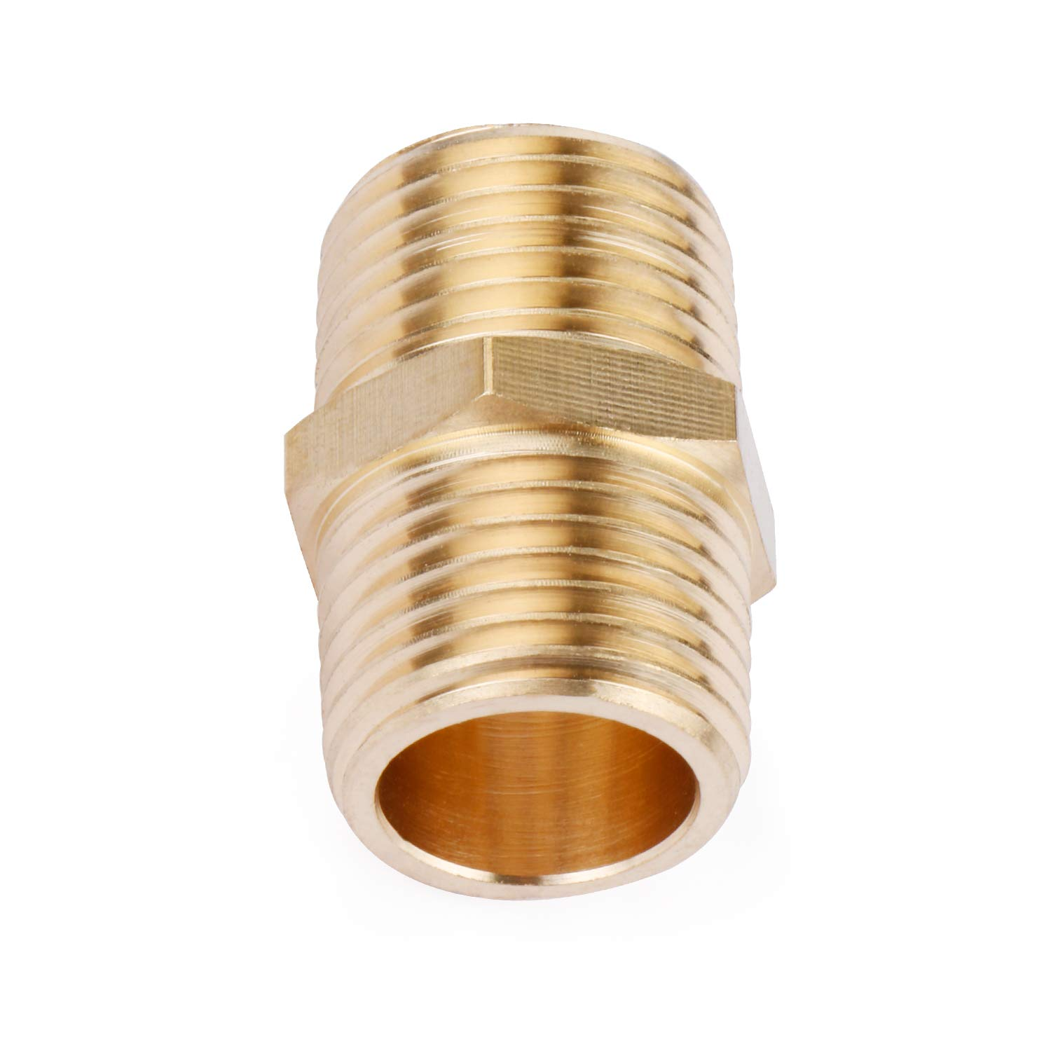 Solid Brass Pipe Fitting 1//2 x 1//2 NPT Male Pipe Adapter Hex Nipple U.S