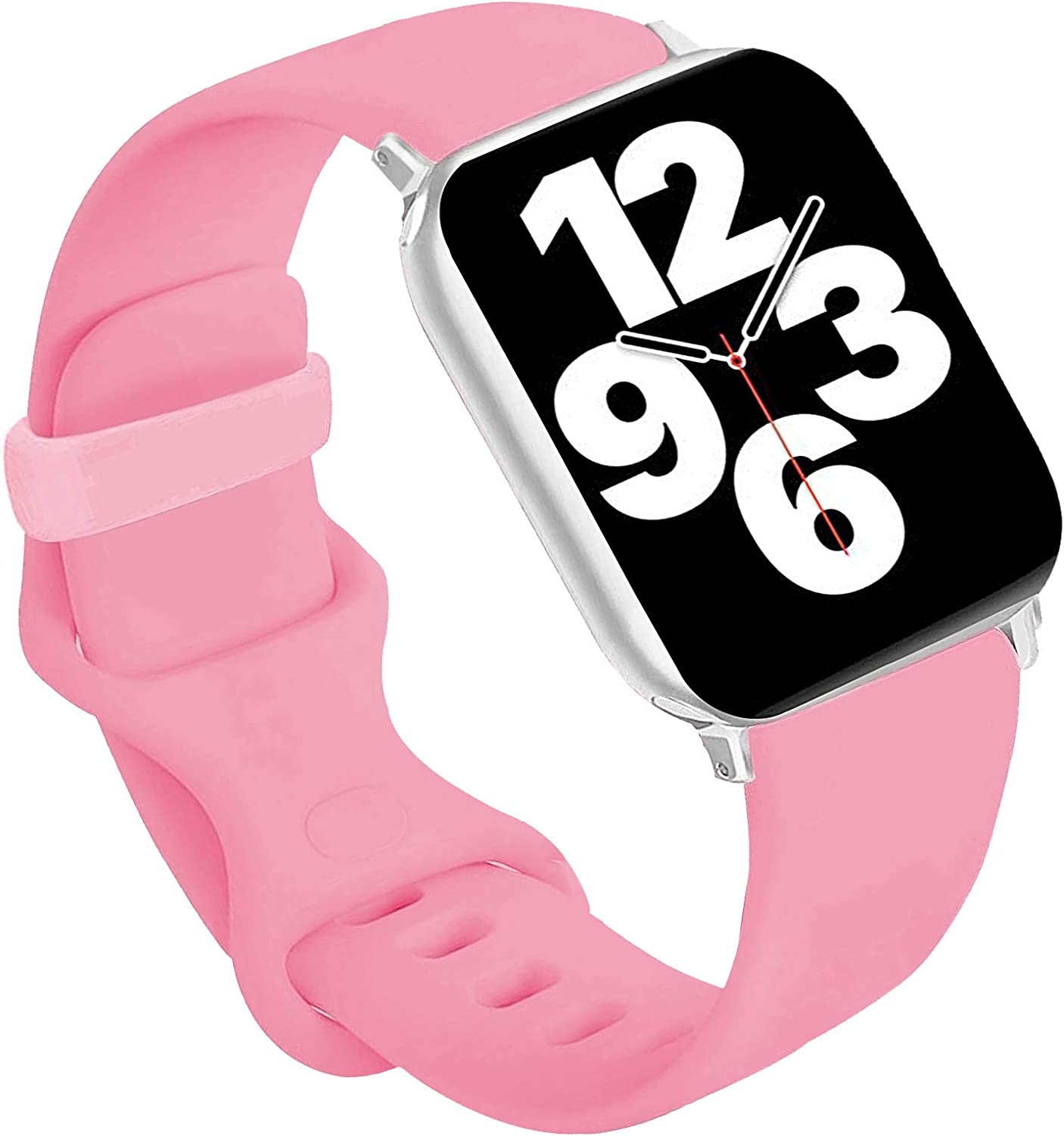 Idon Sport Watch Band, Soft Silicone Replacement Sports Bands Compatible with Watch SeriesSE/Series6/5/4/3/2/1 38MM 40MM for Watch All Models (Light Pink,38MM M/L)