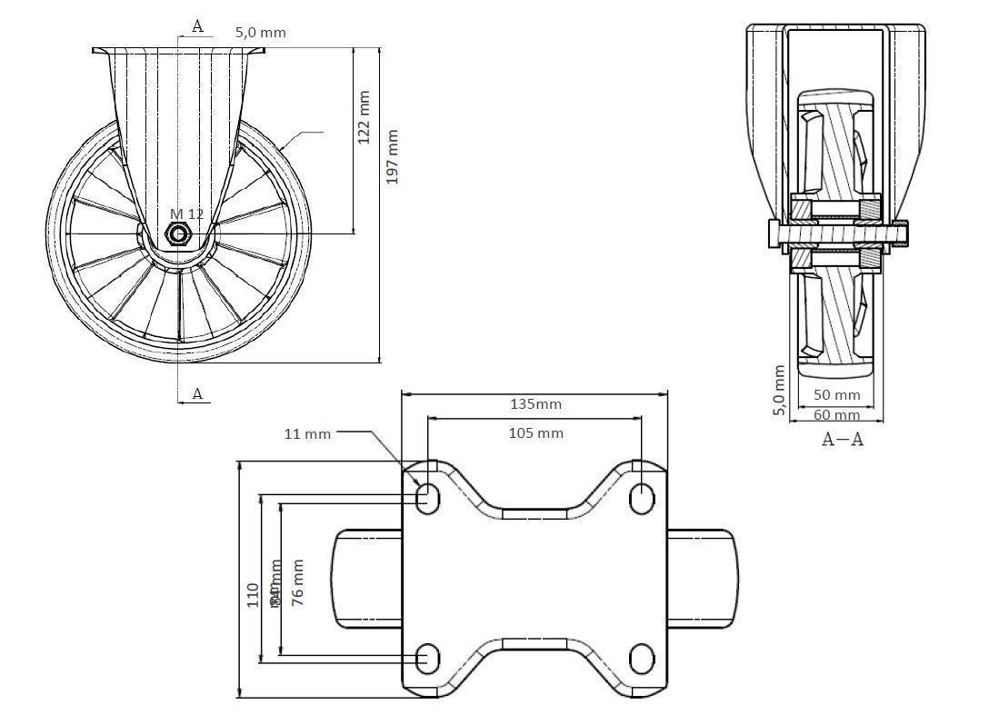 Bockrolle 200 mm PolyamidSchwerlast
