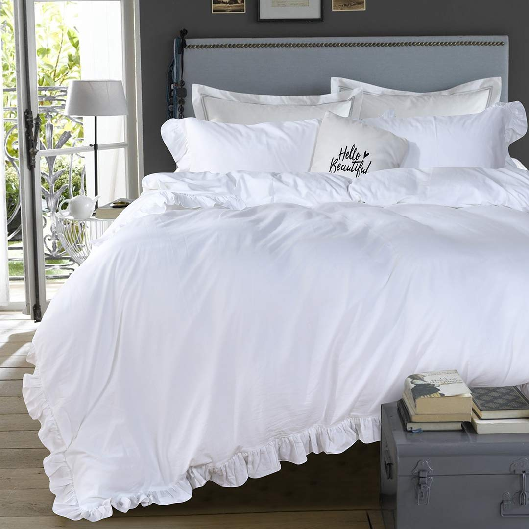 Queen's House 3 Pieces Duvet Cover Set Washed Cotton White Ruffled Duvet Quilt Cover with Zipper Bedding Set Queen Size-Shabby Ruffle,White