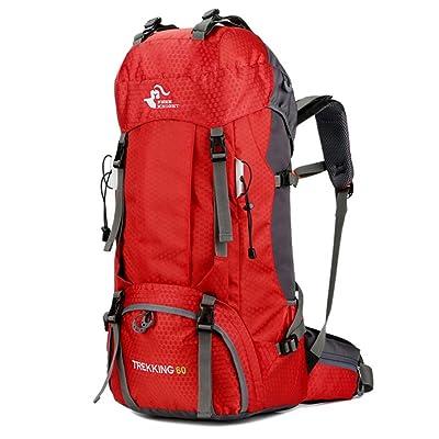 PIO Sports de plein air sac à dos grande capacité imperméable à l'eau durable 60L sac d'alpinisme unisexes poches multiples trekking sac à dos