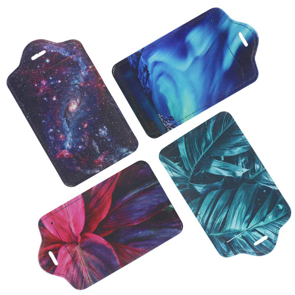 Lizimandu 4 Pack PU Leather Luggage Tags Suitcase Labels Bag Travel Accessories - Set of 4(Scene Leaves) by lizimandu