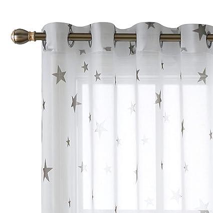 deconovo star curtains sheer kitchen window curtains grommet window panels for kitchen room 52 x 108 - Kitchen Window Curtains