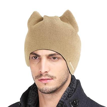 d785b57fefd Goodfeng Women Winter Warm Hat Cat Ear Beanies Cap Solid Color Knitted Hats  Soft Warm Ski