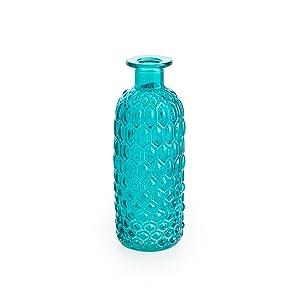 Black Velvet Studio - Vase Costa Azul Verre, Color Bleu. Gravée. Style Nordique 16x7x7 cm.