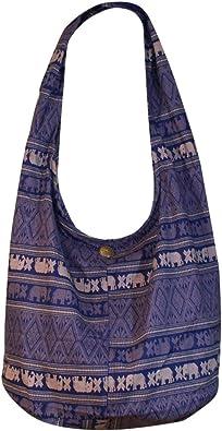 Cotton Shoulder Bag Cotton Elephant Print Sling Bag Cross Body Messenger Purse Hippie Hobo Color Brown