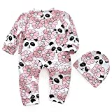 Baby Girls Jumpsuit with Hat Long Sleeves Flower and Panda Printed Sleepsuits