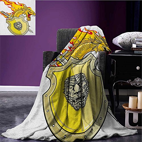 - Dragon cool blanket Legendary Creature with Royal Shield Hero Knight Medieval Times Print Pattern Marigold Pistachio Green size:51