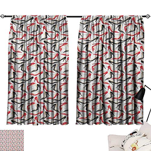 Warm Family Red and Black Exclusive Home CurtainsWomen Fashion Pattern with High Heel Stiletto Shoes Ladies Footwear 70%-80% Light Shading, 2 Panels,63