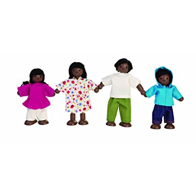 PlanToys Wooden Dollhouse Family- Mom, Dad, Son, and Daughter (7416) | Sustainably Made from Rubberwood and Non-Toxic Paints and Dyes: Toys & Games