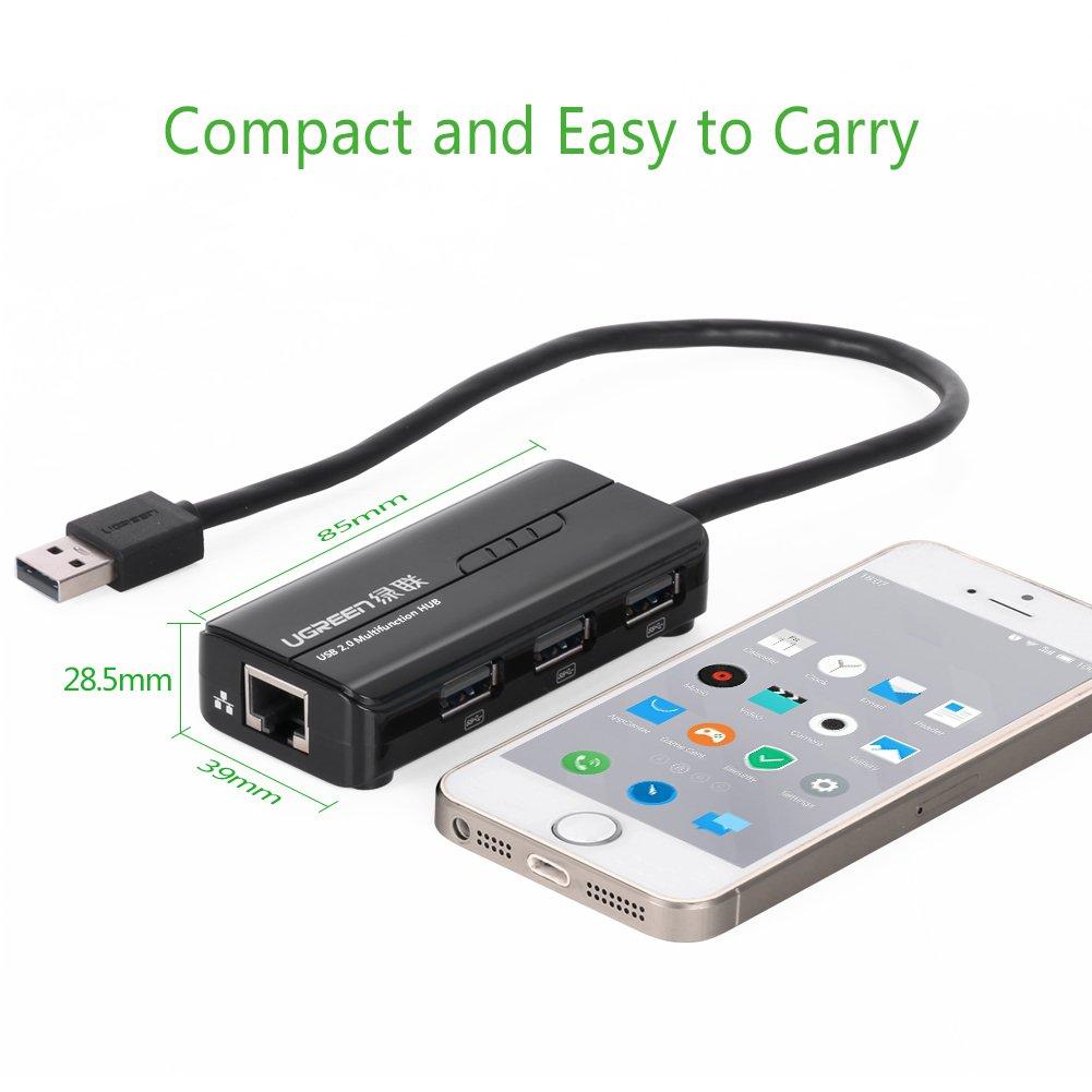UGREEN 3 Ports USB 2.0 Hub mit rj45 Lan Fast Ethernet: Amazon.de ...