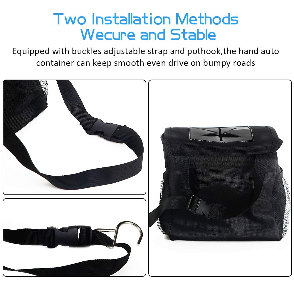 Black, 5 Pcs DYTesa Waterproof Car Trash Can,Adjustable Strap Car Trash Bag with Cover and Storage Pockets,Collapsible Car Garbage Can Suits for Headrest and Car Door
