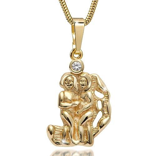 MATERIA 45cm Schlangenkette & 333 Gold Anhänger Sternzeichen Zwillinge Gemini inkl. Schmuckbox #KA-286