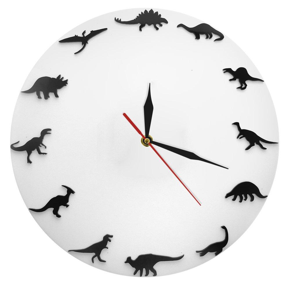 The Geeky Days Dinosaurs Silhouette Wall Clock Creative Animal Nursery Wall Art Decor Kid Room Personalised Dinosaur Clock Modern Silent Quartz Iconic Acrylic Clock Dinosaur Lover Gift