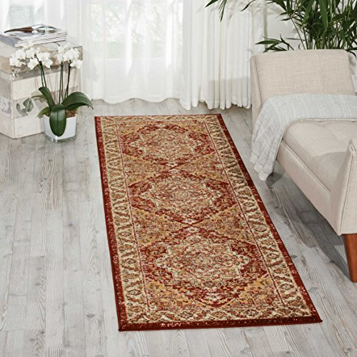 Nourison Delano DEL05 Traditional Oriental Persian Brick (Red) Area Rug Runner,  2'2