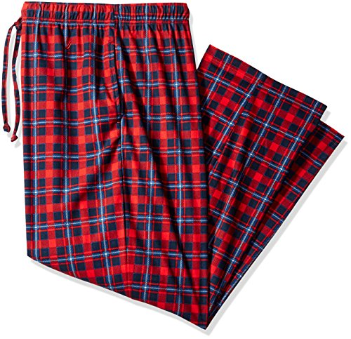 Nautica Men's Big and Tall Plaid Silky Fleece Pant, Red, 3X (Big Mens Fleece Pajama Pants)
