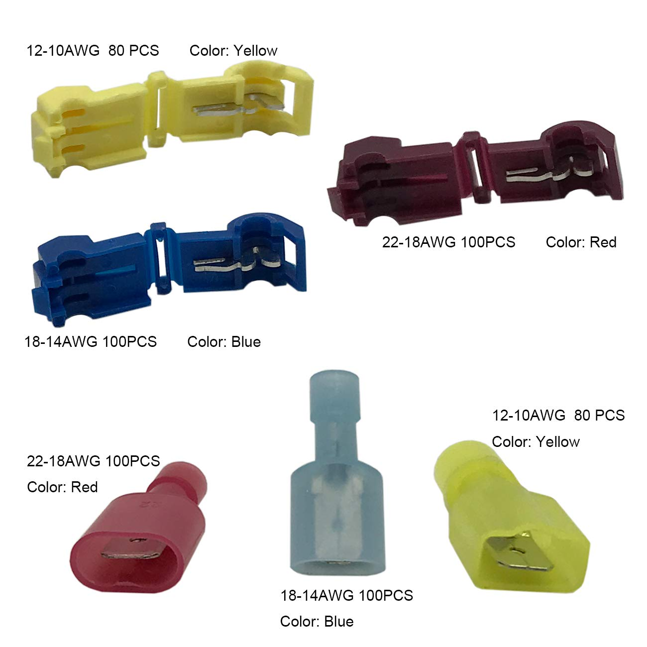 560 T-tap Wire Connectors - Nylon Fully Insulated Male Spade Terminals, Electrical Quick Disconnect Splice Wire Terminals by IRHAPSODY (Image #3)