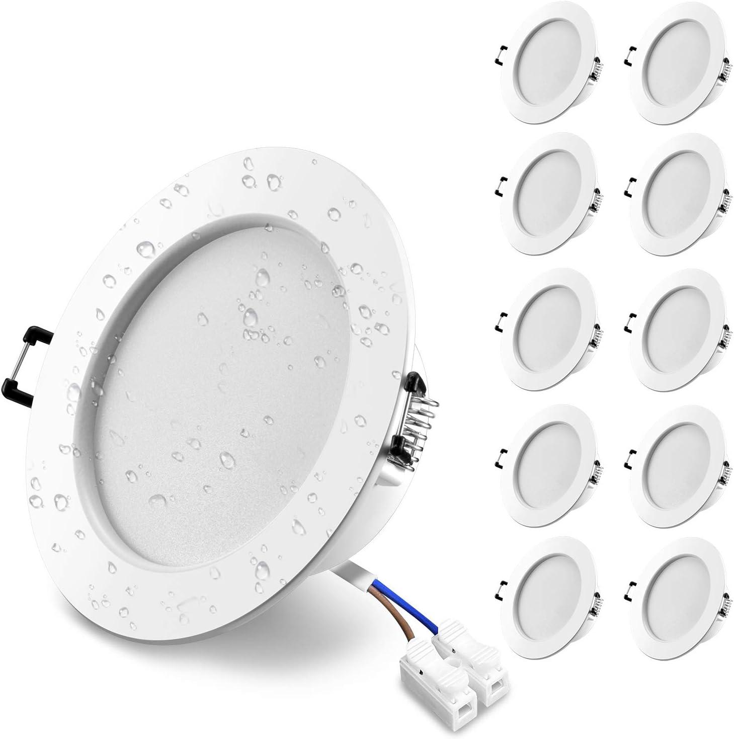 "10X Downlight LED Recessed Ceiling Light IP44 7W = 70W Halogen Bulb Cool White 6000K Waterproof for Bathroom Kitchen Wowatt Spot Light 630LM Cut /Φ3.15-3.55/"" 80-90mm CRI83 Not Dimmable 230V Pack of 10"
