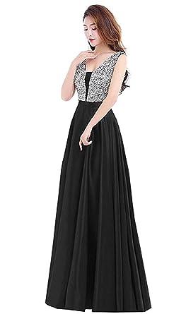 Henglizh Womens Long Bridesmaid Dresses 2018 Deep V-Neck Open Back Prom Evening Dress Black