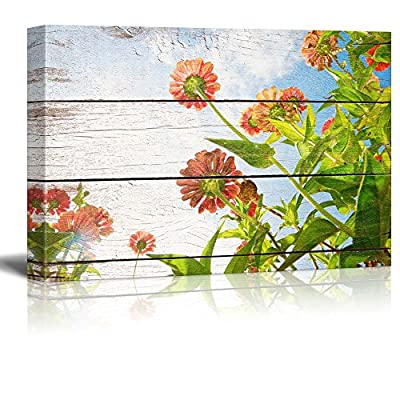 Flowers Reaching Towards The Sunlight - Rustic Floral Arrangements - Pastels Colorful Beautiful - Wood Grain Antique - Canvas Art Home Art - 12x18 inches