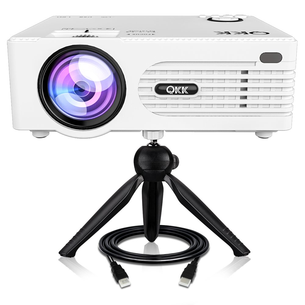 QKK [2019 Upgrade] Mini Projector [with Tripod] LED Projector Full HD 1080P Supported, 170'' Display for TV Stick, Video Game, Blue Ray DVD Player, Smartphone Home Theater Entertainment, Dual USB Port