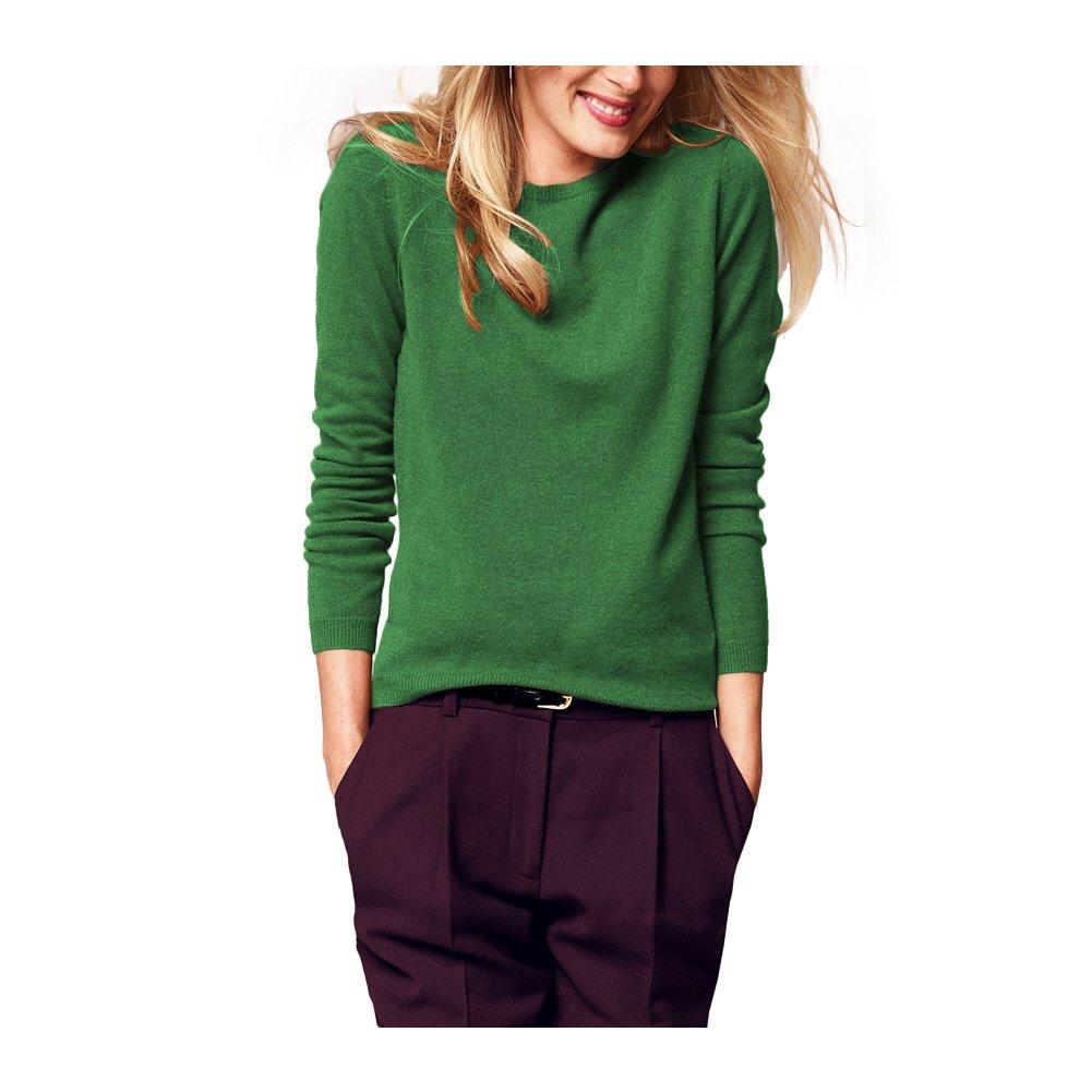Parisbonbon Women's 100% Cashmere Crew Neck Sweater Color Apple Green Size XL
