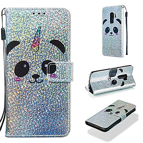 Case for Galaxy S9+/S9 Plus,Fashion Folio Credit Card Holder with Magnetic Closure Shockproof Sparkly Glitter Smooth PU Leather Kickstand Wallet Case Compatible with Samsung Galaxy S9+/S9 Plus -Panda