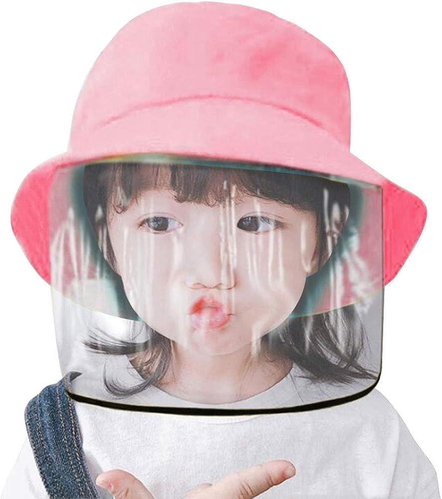 Kids Protective Face Shield Hat Face Mask Cap Anti-Saliva Hat Anti Pollution Bucket Hat Dustproof Splash Facial Cover Removable Dustproof Cover Fisherman Hat Boys Girls Cotton Sun Hat,Pink