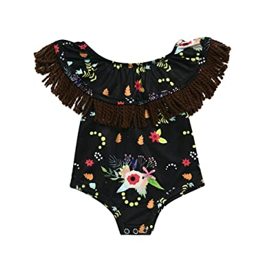 201d45964a37 CHshe Newborns Baby Girl Princess Floral Print Summer Romper Jumpsuit Party  Clothes 0-18 Months  Amazon.co.uk  Clothing