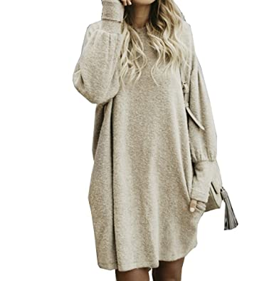 MOMTUESDAYS2 Women s Casual Long Sleeve Loose Bat Pullover Sweater Jumper ( Beige b11516c79