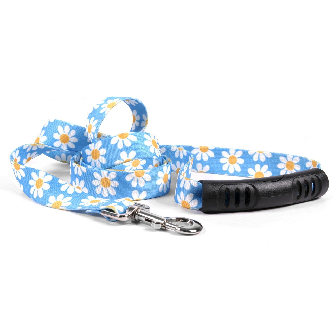 Yellow Dog Design Blue Daisy Ez-Grip Dog Leash With Comfort Handle 1'' Wide And 5' (60'') Long, Large