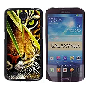Qstar Arte & diseño plástico duro Fundas Cover Cubre Hard Case Cover para Samsung Galaxy Mega 6.3 / I9200 / SGH-i527 ( Tiger Jungle Forest Rainforest Eye Feline)