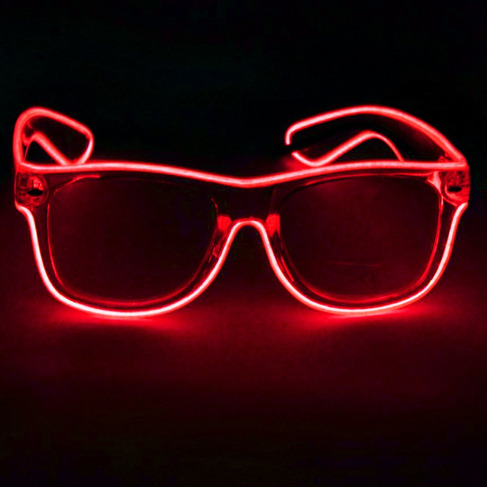 TILO LED Rave Sunglasses White Multicolor Frame EL Wire Glow Colorful Flashing Safety Light up Glasses for Festivals DJ Bright Light Holiday Gift (Red)