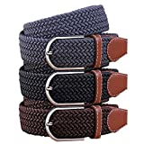 BMC Mens Wear 3pc Stretchy Woven Design Tricolor One Size Adjustable Belt Set - Bussiness Essentials
