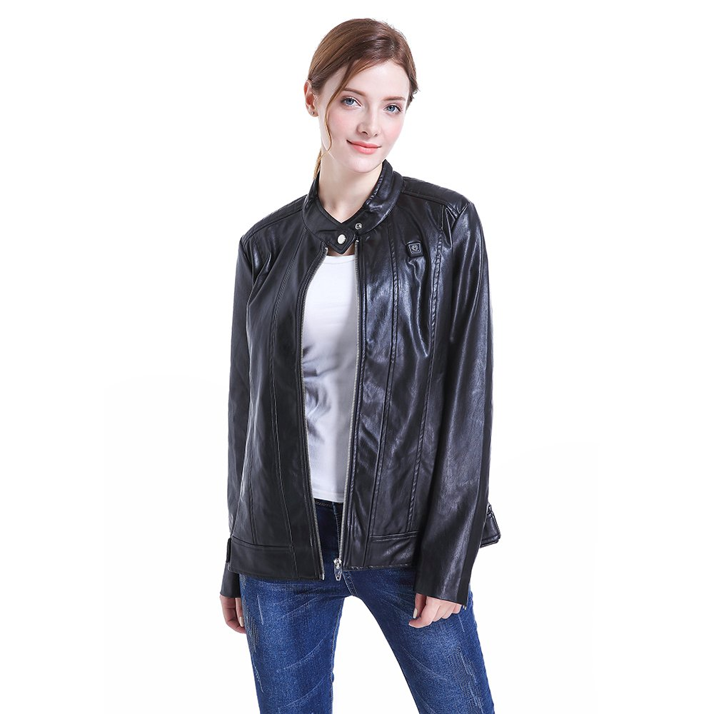 CLIMIX Slim Fit Women Heated Jacket PU Leather Jacket Kits with Battery (M) by CLIMIX (Image #3)