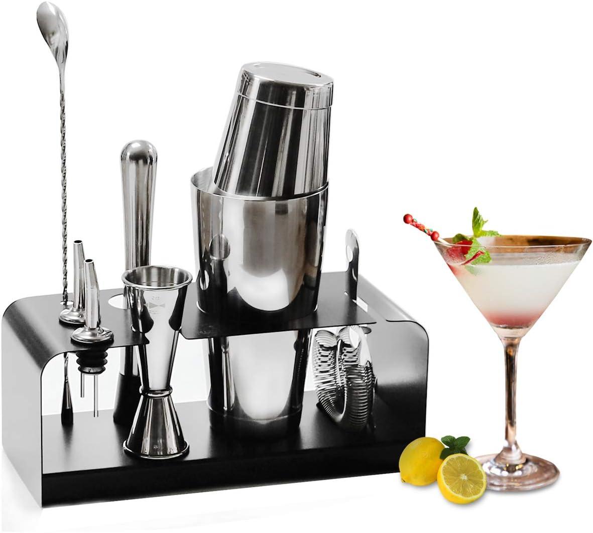 Juego de coctelera SKY FISH: Utensilios para cócteles de 8 piezas con soporte de acero inoxidable - Kit de barman perfecto para el hogar y juego para hacer cócteles.