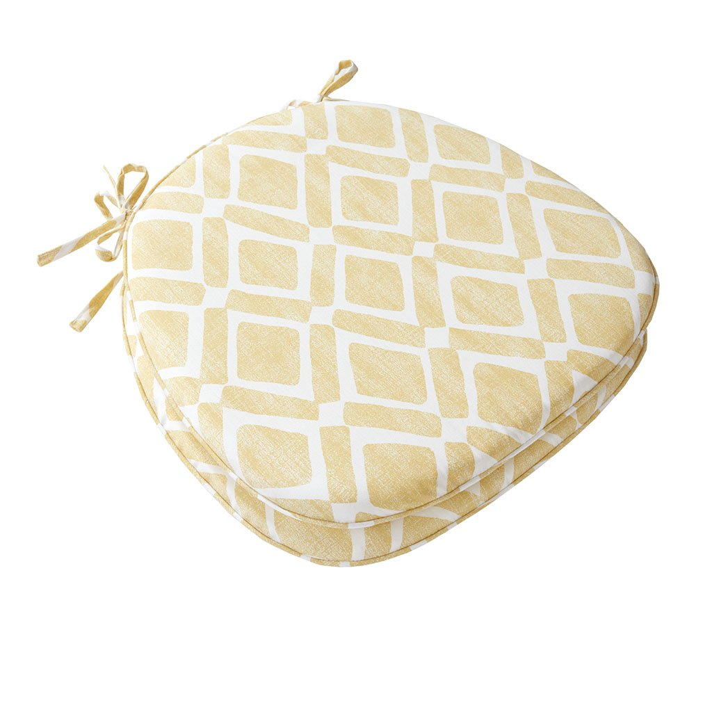 """Madison Park Delray Diamond Cotton Chair Pad Seat Cushion for Dining Office and Living Room, 16"""" W x 17"""" W x 1"""" H, Yellow"""