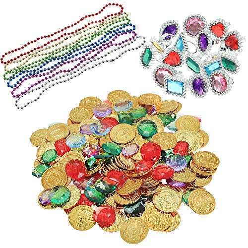 YIQIHAI 300pcs Pirate Toys, 144 Gold Coins 120 Pirate Gems and Rings Necklaces for Pirate Party, Treasure Hunt Game and Party Favors (Gold Coins Party Favors)