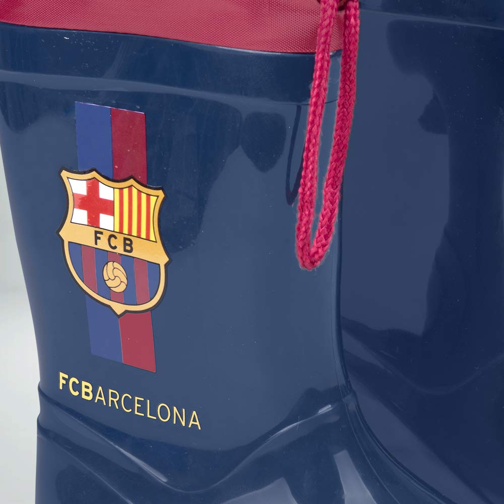 Botas de Agua para Niño Oficial Barcelona Futbol Club - Botines Impermeables de Barça FCB para Niños con Suela Antideslizante y Cierre con Cordón - Blau ...
