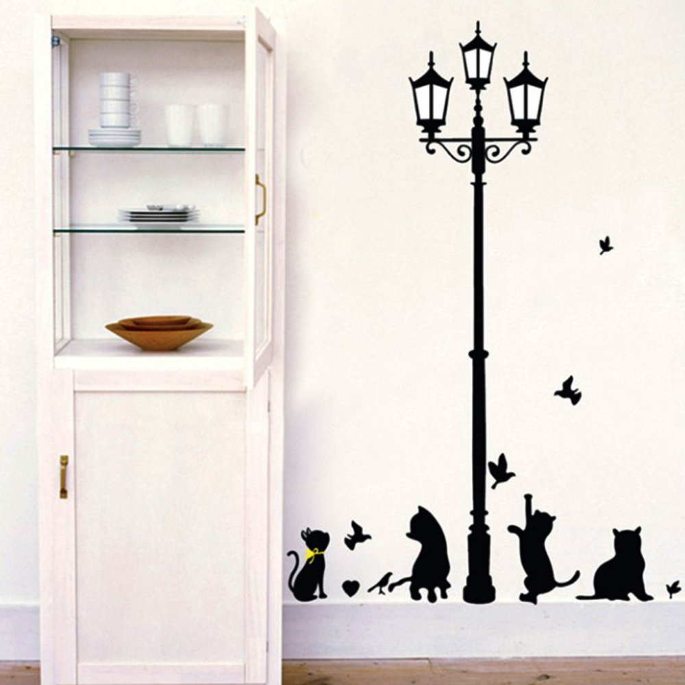 Lamp wall stickers images home wall decoration ideas yesurprise new pvc home art decor mural naughty cats birds and yesurprise new pvc home art amipublicfo Image collections