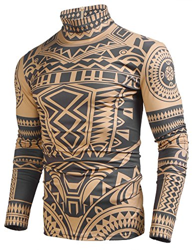 COOFANDY Men's African Tribal Tattoo Thermal Turtleneck Pullover Slim Fit Underwear by COOFANDY (Image #3)