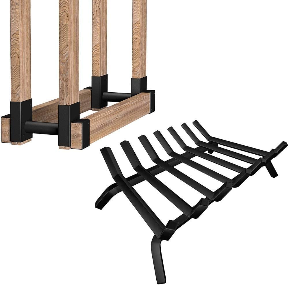 Amagabeli 2Pack Firewood Bracket Log Rack Bundle Amagabeli Black Wrought Iron Fireplace Log Grate 30 inch